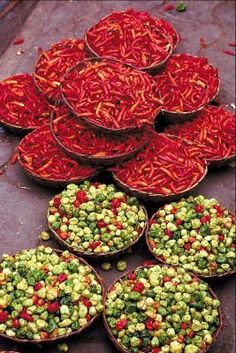 Fresh produce and spices sold at the local markets are an advantage of city life in Nigeria.