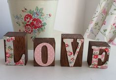Wooden Word Blocks decoupaged in Cath Kidston - HOME or LOVE. $15.00, via Etsy.