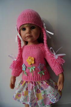 Цена на любой комплект 750 р. №1 Розовый комплект — шапочки, свитерок и юбочка. На шапочке и свитерочке вывязана аппликация / 550р