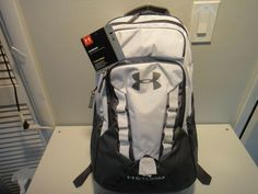 0f409bedb2 Under Armour Recruit Strom BackPack Heat Gear Gusseted Laundry Pocket Gray  White #Underarmour #Backpack