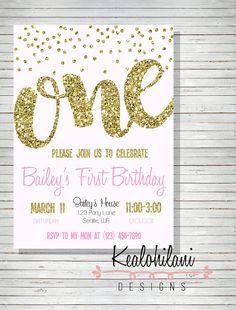 B005 - Pink and Gold First Birthday Invitation / Baby Girl First Birthday…