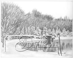 """""""I was very pleased with how the landscape pencil drawing turned out. I would certainly come back to this website. They also had a fast turn around during the holiday season. Beautiful Pencil Sketches, Cool Sketches, Pencil Sketch Portrait, Landscape Pencil Drawings, Sketch Paper, Portraits From Photos, How To Draw Hands, Fine Art Prints, Website"""