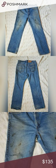 Vintage Levi's 509 Orange Tab Distressed Jeans These are such a perfect pair of vintage levis y'all. The orange tab earmarks them as pre 1980s, and these were worn and worked and lived in. Marked a 36/32 but please take care to read laid flat measurments below. Waist- 16.5  Hip- 19 Rise- 12  Inseam-32 Levi's Jeans