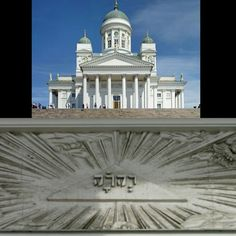 God's name written on Helsinki Cathedral in Finland. Tetragrammaton