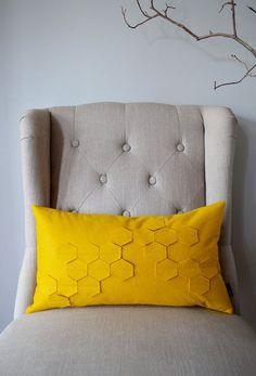 Honeycomb Golden Yellow Felt Kidney Pillow with Down Insert #DailyLifebuff