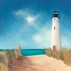 Blue Sky Lighthouse Canvas Wall Art - x in. - Classic and breathtaking, the Blue Sky Lighthouse Canvas Wall Art - x in. will get you dreaming of your time on coast. This canvas art. Painting Prints, Watercolor Paintings, Art Prints, Art Paintings, Landscape Paintings, Abstract Canvas, Canvas Wall Art, Beach Canvas Paintings, Big Canvas
