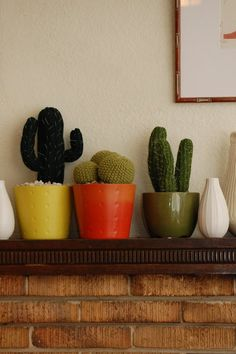 TRIO BALL  Hand Knitted Cactus in Ceramic by oddsandendshandmade, $65.00