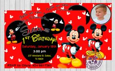 Mickey Mouse first birthday invitations - mickey mouse 1st birthday invitations - mickey mouse 1st birthday invitation - Mickey Mouse Invite by BestBirthdayParty, $6.40 EUR Mickey Mouse Birthday Invitations, Custom Birthday Invitations, Mickey Mouse Clubhouse Birthday, Photo Invitations, Invitations Kids, Invitation Ideas, Invitation Design, Invites, Mickey Mouse Photos