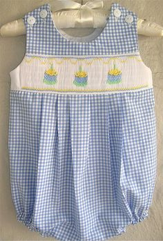 Boys Smocked Birthday Cake Bubble Blue Gingham by GumdropGrove, $51.00