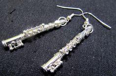 Flute earings - Querflöten Ohrringe Flöten Hänger Silber