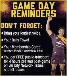 Broncos in the NRL with their game day reminders list. Sadly the Rally Towel just did not work...