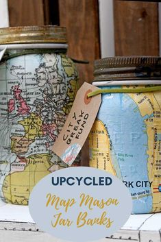 Upcycle some old mason jars with maps to make these wonderful map mason jar banks.  They would make a wonderful travel themed gift for anyone with wunderlust. Mason Jar Bank, Mason Jars, Unique Maps, Map Crafts, Vintage Industrial Lighting, Upcycled Crafts, Travel Themes, Craft Materials, Craft Stores