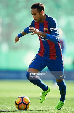 Neymar Jr of FC Barcelona in action during La Liga match between Real Betis Balompie and FC Barcelona at Benito Villamarin Stadium on January 29, 2017 in Seville, Spain.