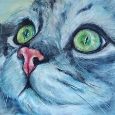Custom Cat Portrait, Original Painting, Feline Art, Australian Artist, Memorial Pet Portrait, Cat Lovers Gift, Square Format, quirky animal by BrightEyesByOpal on Etsy https://www.etsy.com/au/listing/544212431/custom-cat-portrait-original-painting