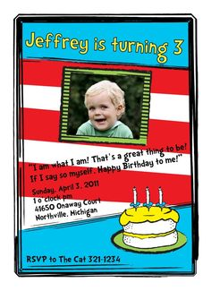 DR SEUSS Inspired Birthday Party - Printable Customized Invitation