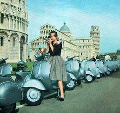 Vintage photo of Vespas in Pisa, Italy (lambretta-lady)