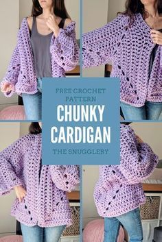 Super Chunky Hexagon Cardigan: FREE pattern from The Snugglery You will find step by step instructions and video tutorial just to help you make this cool jacketBeginner Sweater Projects - Pattern & Yarn Mailed to You!Spring crochet projects to getIf Pull Crochet, Gilet Crochet, Mode Crochet, Crochet Coat, Crochet Cardigan Pattern, Crochet Jacket, Chunky Crochet, Crochet Yarn, Crochet Clothes