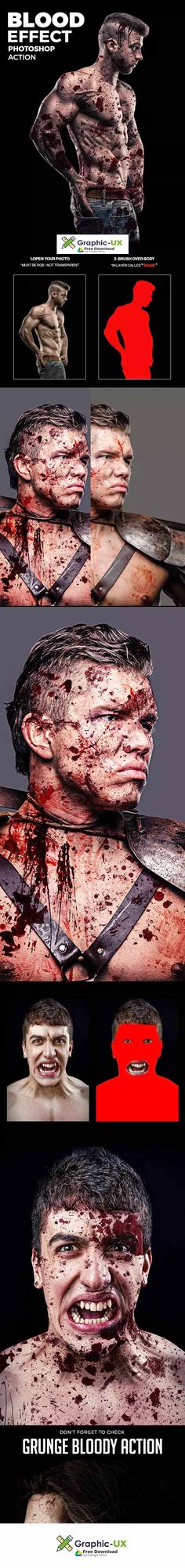 Blood Effect Photoshop Action – GraphicUX Photoshop Effects, Photoshop Actions, Photoshop Ideas, Free Photoshop, Photography Editing, Photo Editing, Video Editing, Photoshop Design, Photoshop Tutorial