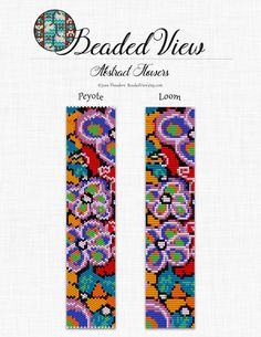 Loom Bead Pattern, Beading Pattern, Flower Bracelet Pattern, Peyote Bead Pattern, Abstract Flowers Bead Pattern Bead Loom Pattern PDF  bd019