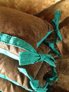 Western Baby Bumpers - Pillow - Tooled Leather and Turquoise