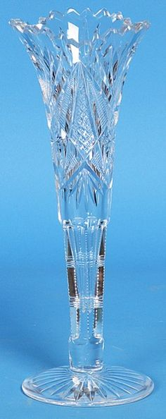 349: Empire Cut Glass Co Trumpet Vase : Lot 349