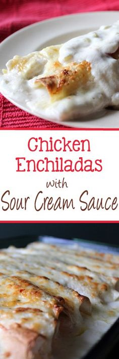 Change up your next enchilada dish with these chicken enchiladas with sour cream white sauce. Your taste buds will thank you! | EverydayMadeFresh.com