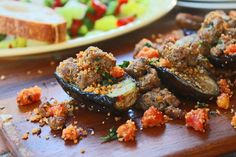 Grilled Baby Eggplant with Turkey Sausage & Tomatoes by cookingforkeeps #Eggplant #Sausage