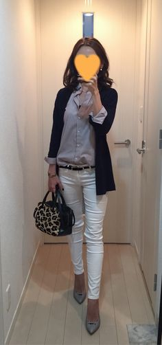 Navy cardigan: ZARA, Purple striped shirt: Uniqlo, White skinny: AG, Leopard bag: Tomorrowland, Grey pumps: Pellico Office Fashion, Work Fashion, Denim Fashion, Fashion Pants, Daily Fashion, Fashion Outfits, Womens Fashion, Ladies Fashion, Summer Office Outfits