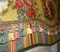 french country fabric patterns | Custom Made - French Country VALANCE Waverly Fabrics Saffron Red Gold ...