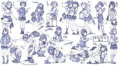 女の子制服ポーズ練習20ポーズ - ニコニコ静画 (イラスト)