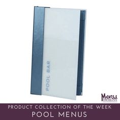 Product Collection of the Week: Pool Menus. Pool menus and menu covers are a great way to promote your food and drinks poolside. Offering menus by the pool encourages guests to stay and hang out at your hotel, and can help increase the food and drink sales for your hotel. #menudesigns #menu #designs #menucovers #restaurants #hotels #bars #hospitality #food #drink
