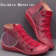 Women's Casual Flat Leather Lace-up Boots PU Boots Flat Heel Boots, Ankle Heels, Heeled Boots, Buy Boots, Cool Boots, Leather Lace Up Boots, Leather Heels, Flats With Arch Support, Fashion Shoes