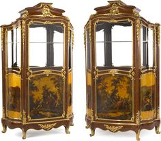 A fine pair of Louis XV style gilt bronze mounted Vernis Martin decorated vitrine cabinets Henry Dassondated 1884