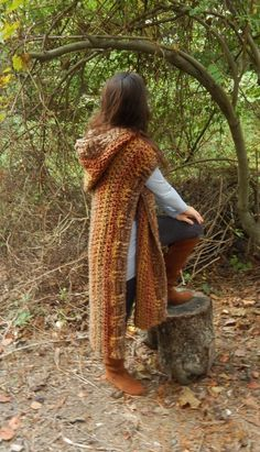 Woodsman's Wife Ruana Pattern can be purchased for $5.50 on Etsy. MORALE FIBER Morale Fiber Designs