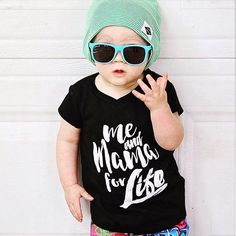Me and Mama For Life Hipster Kids Tee  Nothing is stronger than the bond between mother and child. No matter how old our littles get they will always be our babies. Whether you are looking to add some style to your toddlers wardrobe or for the perfect shirt for that family photoshoot, this tee will leave have your little one looking stylish and feeling cozy and comfortable all day long. Skillfully printed by hand in water based ink on an incredibly soft poly-cotton blend tshirt, this tee…