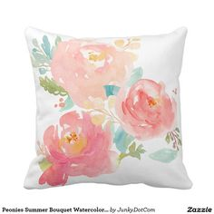 Peonies Summer Bouquet Watercolor Pastel Throw Pillow