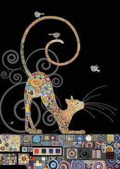 bug art M141 Cat with Birds