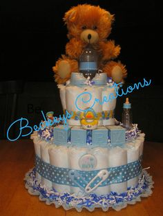 2 Tier Basic Diaper Cake by BeckeysCreations on Etsy