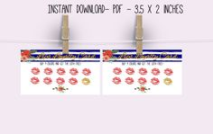 894300fe735660 Lip Loyalty card Printable -3.5 x 2 inches- Instant download- Lips business  PDF. Zibbet
