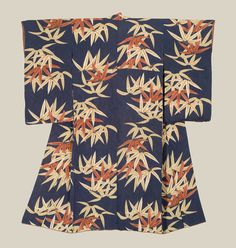 A  rinzu silk kimono featuring yuzen-dyed bamboo leaves. Late Meiji to Mis-Taisho era (1900-1920), Japan.  The Kimono Gallery