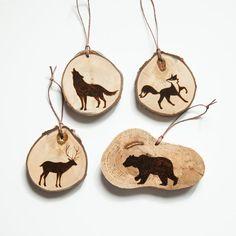 Rustic Wood Slice Ornament with Burned Deer by ForageWorkshop