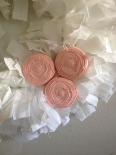 Rag Wreath with Rosettes by PerfectlyBare on Etsy
