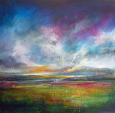 Semi Abstract Landscape Paintings   Colourful semi abstract landscape painting created using many layers ...