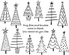 Doodle Weihnachten B ume digitale Clipart Photoshop Etsy Christmas Doodles, Diy Christmas Cards, Christmas Art, Holiday Crafts, Christmas Decorations, Christmas Desserts, Christmas Clipart, How To Draw Christmas Tree, Christmas Gift Drawing