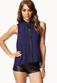Faux Leather-Trimmed Chiffon Shirt | FOREVER 21 - 2052076412