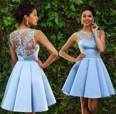 Sky Blue Homecoming Dresses,Lace Homecoming Dress,Sexy Homecoming Dresses,Short Prom Dress,Satin Cocktail Dresses  by olesaweddingdresses, $121.90 USD Homecoming Dresses Tight, Dresses Short, Sexy Dresses, Short Prom, Custom Dresses, Holiday Dresses, Elie Saab, Lace Dress, 1940s