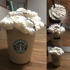 Starbucks Valentines Box Super easy! Mocha trash can, Spray foam, dowel rod, I used green floral tape (but you could use paint), lego sticker or print and glue it on, then dark brown and Carmel brown for the syrup!