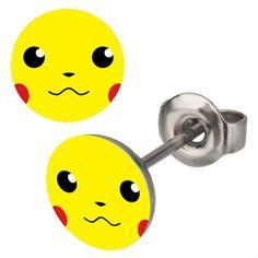 Boucles d'oreilles logo pikachu pokemon 10 mm