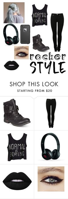 """""""Untitled #22"""" by emmalouj-1 ❤ liked on Polyvore featuring ZiGiny, MM6 Maison Margiela, Beats by Dr. Dre, Lime Crime, LifeProof, rockerchic and rockerstyle"""