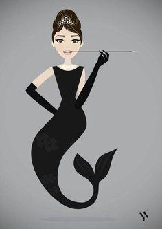 Audrey Hepburn. Breakfast at Tiffany's Holly Golightly as a mermaid.